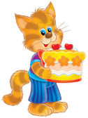 Cat with cake — Stockfoto