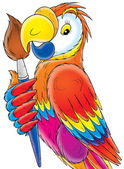 Parrot with brush — Stock Photo