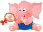 Pink elephant with a loupe — Stock Photo