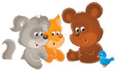 Dog, squirrel and bear — Stock Photo