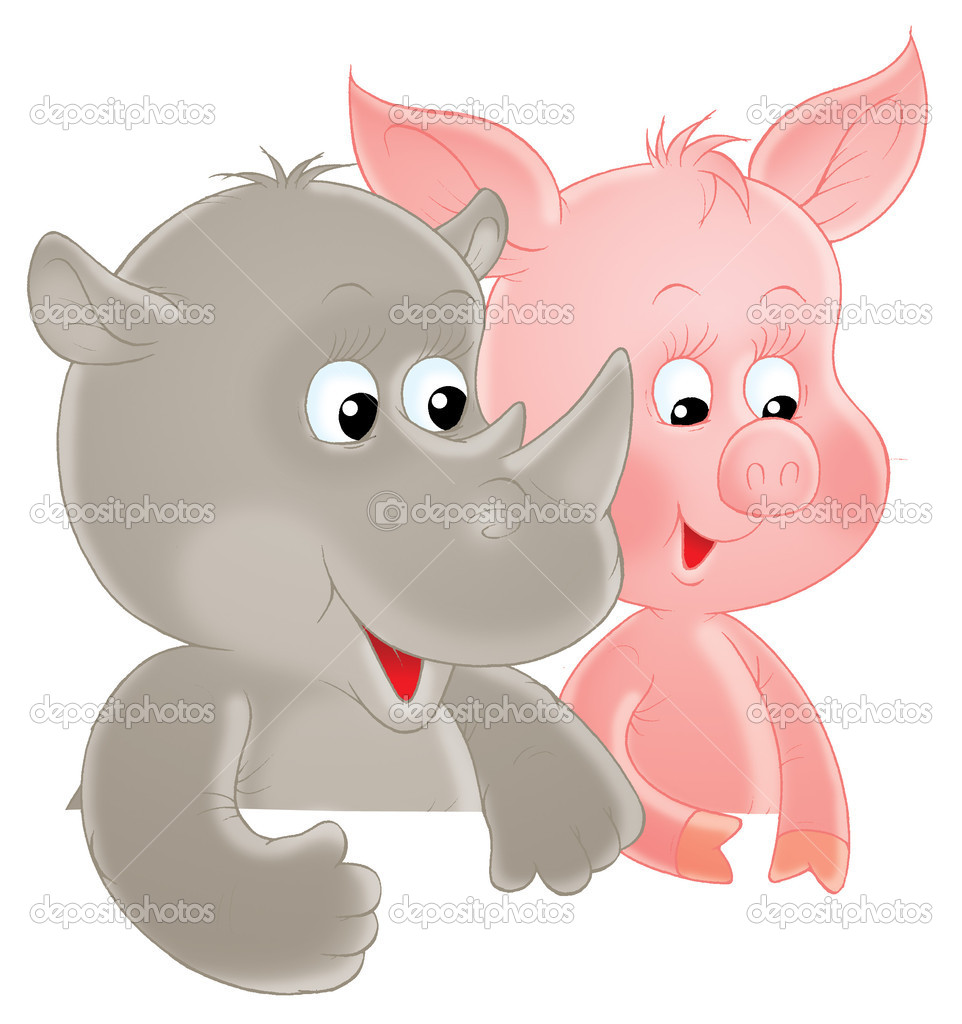 Piglet and Rhinoceros, isolated clip-art on a white background — Stock Photo #8857398
