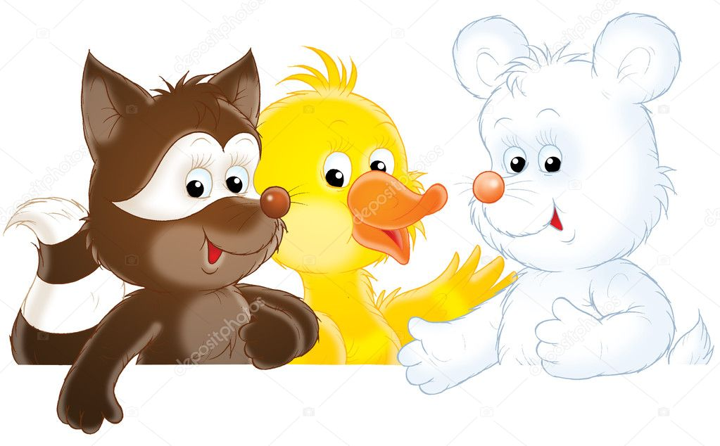 Raccoon, duck and polar bear cub, isolated clip-art on a white background — Stock Photo #8857404