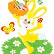 Easter Bunny dances with a basket of painted eggs — Vettoriali Stock