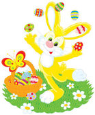 Easter Bunny juggles painted eggs — Vector de stock