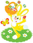 Easter Bunny dances with a basket of painted eggs — Stock vektor