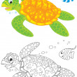 Marine turtle and fish — Stock Photo