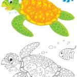 Marine turtle and fish — Stock Photo