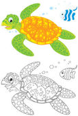 Marine turtle and fish — Stockfoto