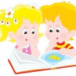 Girl and boy read a book - Stock Vector