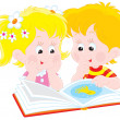 Girl and boy read book — Stok Vektör #9043162