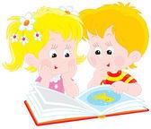 Kız ve oğlan bir kitap okumak — Stok Vektör