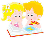 女の子と男の子の本を読む — ストックベクタ