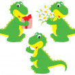 Stock Vector: Dinosaur with gift and nosegay