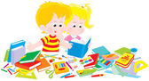 Menina e menino com um conjunto de primeiro grau — Vetorial Stock