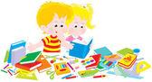 Niña y niño con un conjunto de primer grado — Vector de stock