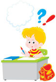 Schoolboy writing a test in school — Vector de stock