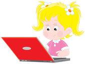 Chica con un ordenador portátil — Vector de stock