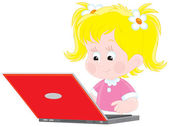Girl with a laptop — Vector de stock