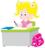 Schoolgirl writing a test in school — Vector de stock