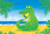 Big green crocodile — Stock Photo