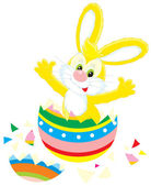 Easter Bunny and painted egg — Stock Vector
