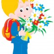 Schoolboy with flowers - Stock Vector
