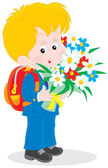Schoolboy with flowers — Stock Vector