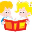 Girl and boy read a book — Stock Vector