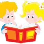 Girl and boy read a book — Stock Vector