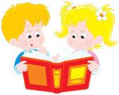 Niña y niño leer un libro — Vector de stock