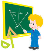 Schoolboy at lesson Geometry — Stock Vector