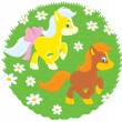 Little Ponies — Stock Vector