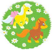 Little Ponies — Stock Vector