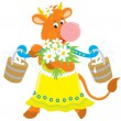 Stock Vector: Cow with milk and flowers