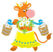 Cow with milk and flowers — Vector de stock