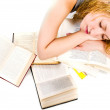Girl sleeping on books — Stock Photo #10605854