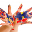 Painter's color hand — Stock Photo