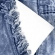 Blue jeans Pocket  with blank card — Stock Photo