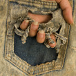 Pocket with hand — Stock Photo