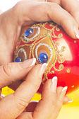 Hand-made ball decoration — Stock Photo