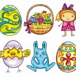 Easter cartoon icon set part 1 - Stock Vector