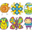 Easter cartoon icon set part 2 — Stock Vector