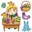 Boy painting Easter eggs — Stock Vector