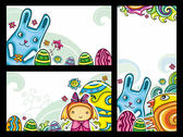 Decorative Easter floral banners — Stock Vector