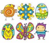 Easter cartoon icon set part 2 — Stock Vector