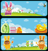Easter cute banners with space for your text — Stock Vector