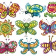Cartoon butterflies set. — Stock Vector