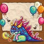 Dragon holiday card. — Stock Vector