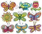 Cartoon butterflies set. — Stock Vector