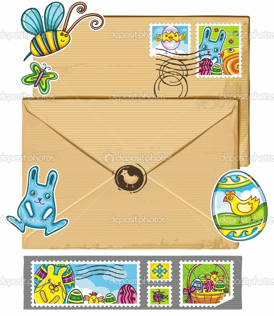 Easter theme envelope and stamps featuring traditional holiday basket with spring eggs chicken, bumble bee , butterfly and ladybug  — Stock Vector #9620639
